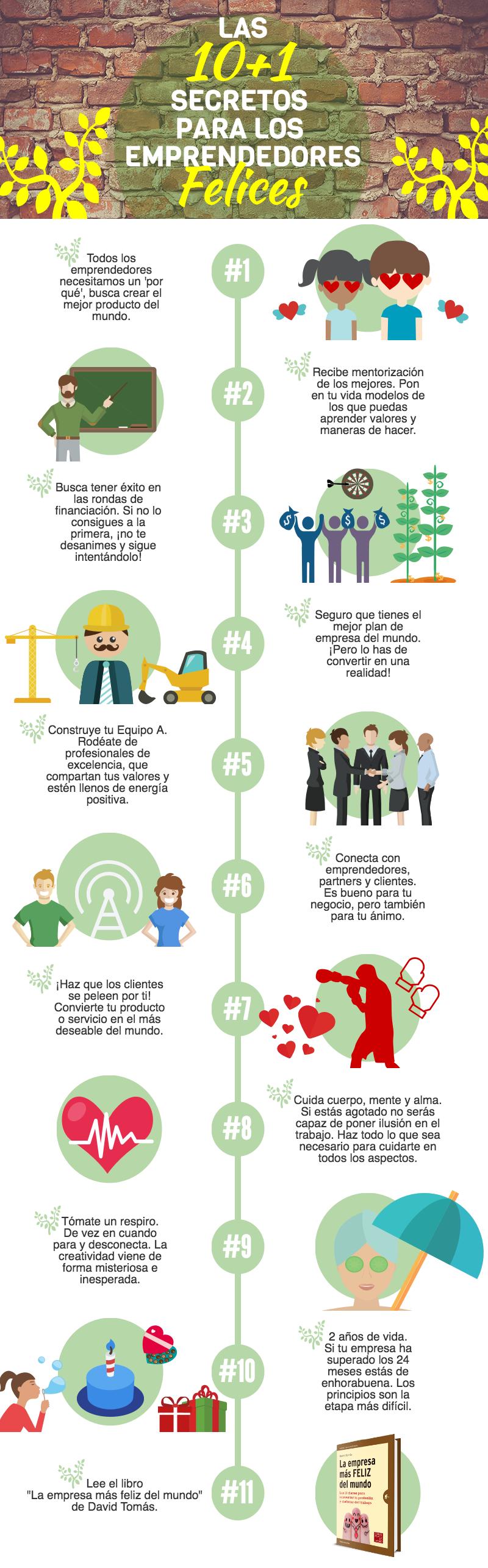 Los 10+1 secretos para los emprendedores felices